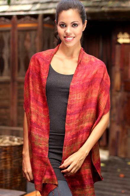 Unique Silk Scarf from Thailand 'Crimson Wilderness'