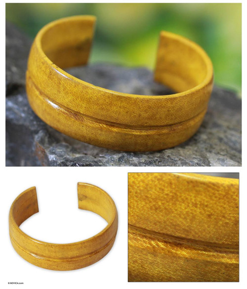 Yellow Leather Cuff Bracelet 'Antiri'