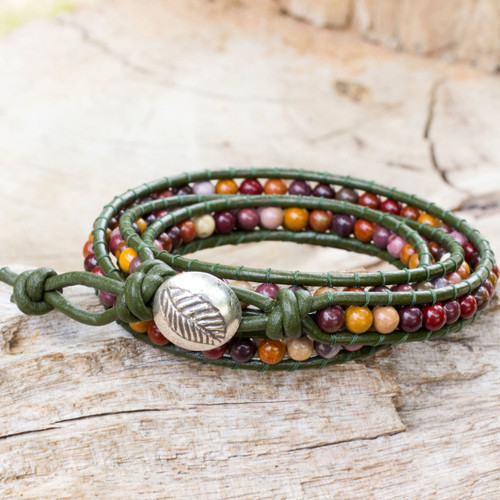 Handcrafted Leather and Agate Wrap Bracelet 'Forest Enchantment'