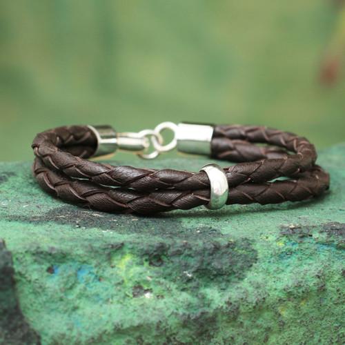 Leather Braided Men's Bracelet 'Strategy'