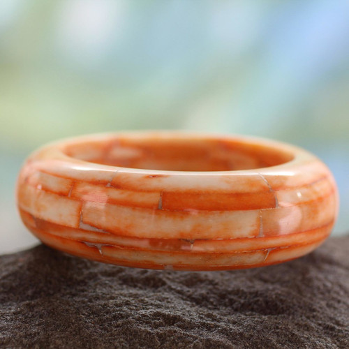 Bangle Bracelet India Bone Handcrafted Jewelry 'Delhi Sunrise'