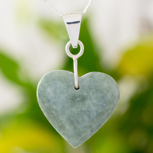 Sterling Silver Heart Shaped Jade Necklace 'Green Maya Heart'