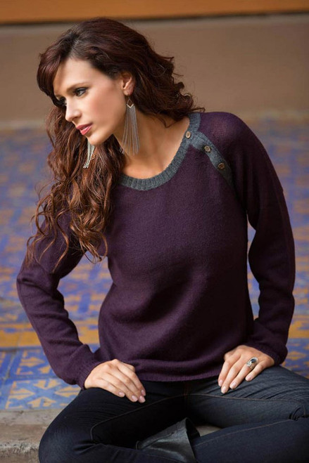 Unique Peruvian Alpaca Wool Pullover Sweater 'Andean Purple'