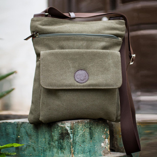 Leather Accent and Cotton Shoulder Bag  'Ica Traveler'