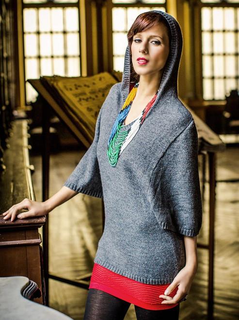 Alpaca blend hoodie sweater 'Gray Trujillo Lady'