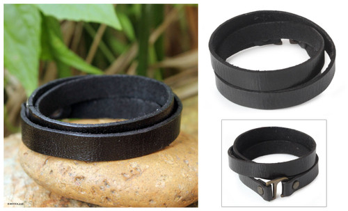 Unique Leather Wrap Bracelet 'Enigma in Black'