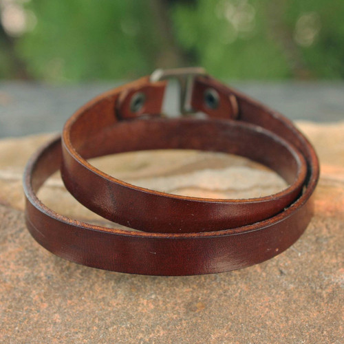 Men's Artisan Crafted Leather Wrap Bracelet from Thailand 'Enigma in Brown'