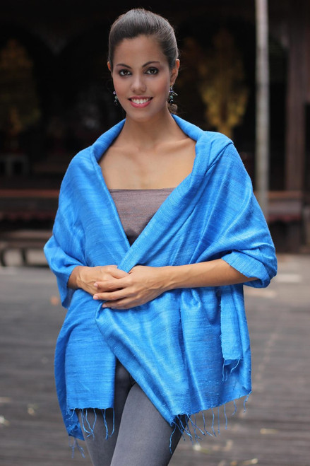 Handcrafted Silk Shawl 'Blue Treasure'