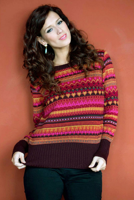Alpaca Wool Art Knit Pullover Sweater 'Fiesta in Cuzco'