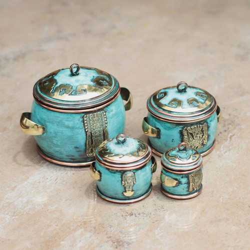 Copper and bronze boxes (Set of 4) 'Grand Peru'