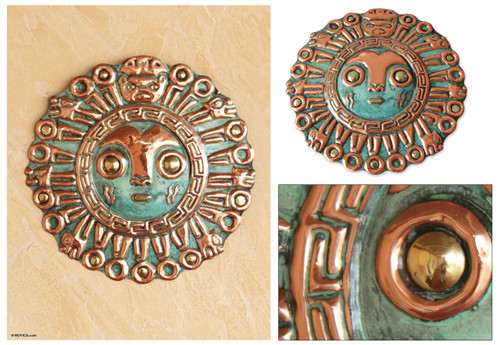 Hand Made Archaeological Bronze and Copper Mask 'Coricancha Sun'