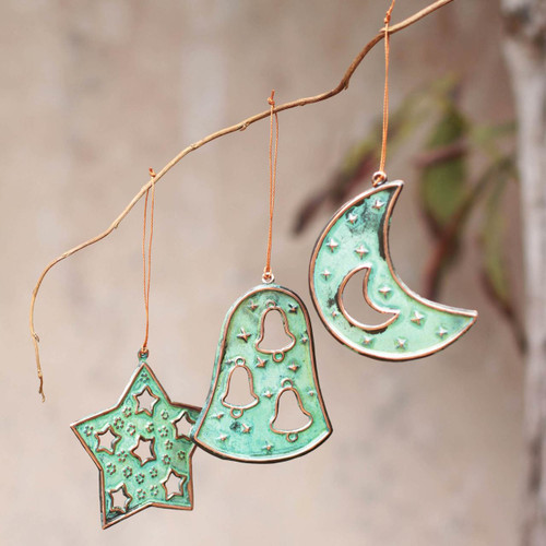 Copper and Bronze Christmas Ornaments (Set of 6) 'Joyous Art'