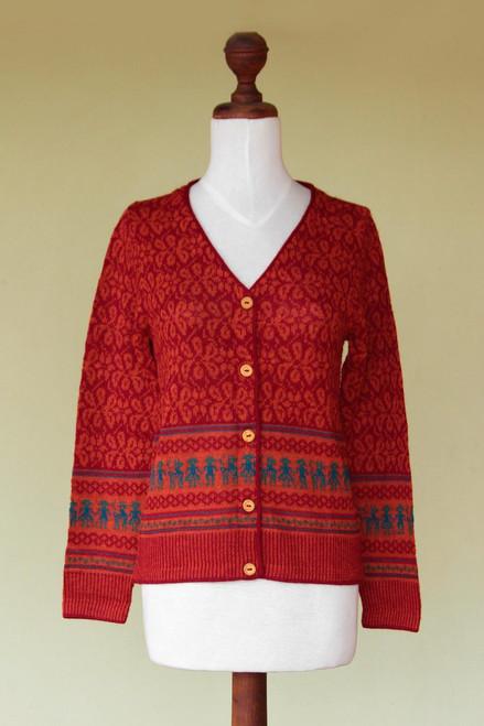 Fair Trade Alpaca Wool Button Up Cardigan 'Alpaca Fantasy'