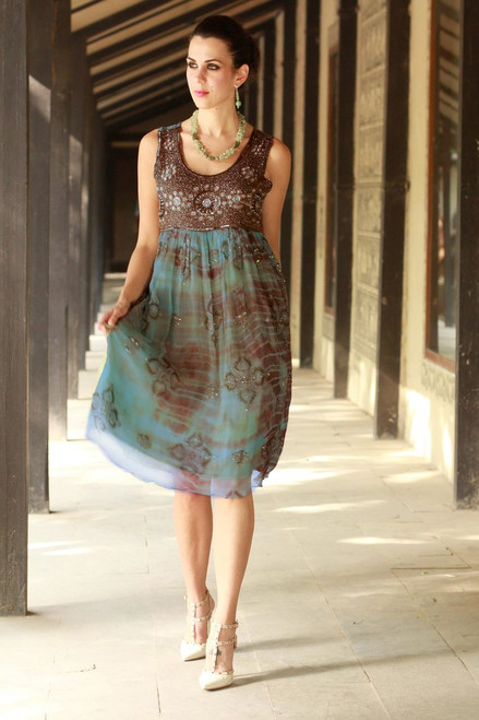 Shibori-Dyed Green and Brown Embellished Dress with Sequins 'Shibori Chic'