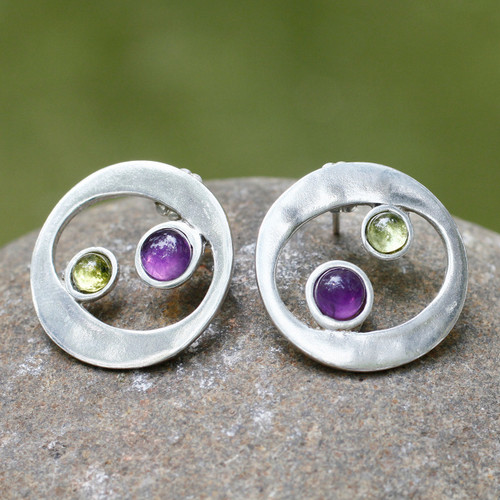 Unique Sterling Silver Amethyst and Peridot Earrings 'Drifters'