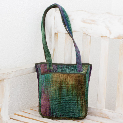 Bamboo chenille shoulder bag 'Forest Rainbow'