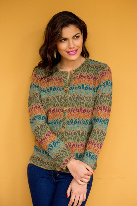 Alpaca Wool Art Knit Cardigan Sweater 'Andean Secret'