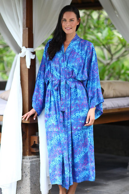Handcrafted Batik Robe from Indonesia 'Ocean Symphony'