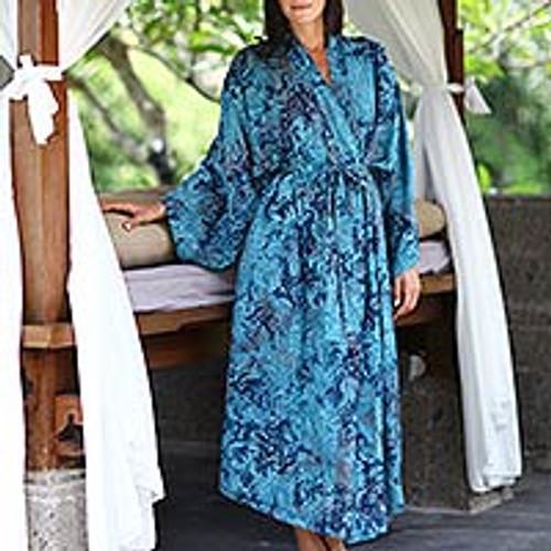 Batik Patterned Robe 'Sapphire Dreams'