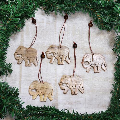 Wood ornaments (Set of 5) 'Elephant Holiday'