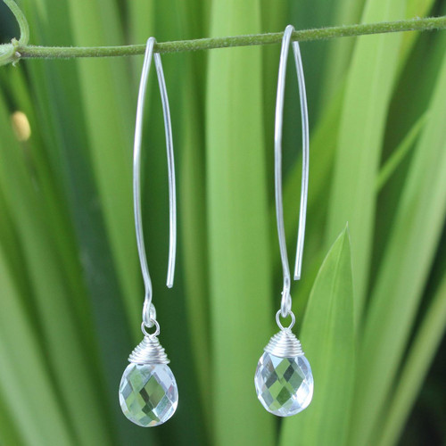 Sterling Silver and Quartz Dangle Earrings 'Majestic Ice'