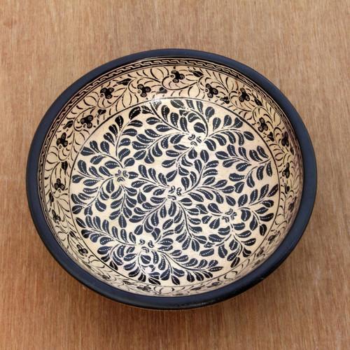 Wood batik centerpiece 'Harvest in Java'