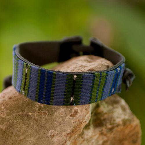 Men's Leather Cotton Wristband Bracelet 'Under the Mayan Sky'