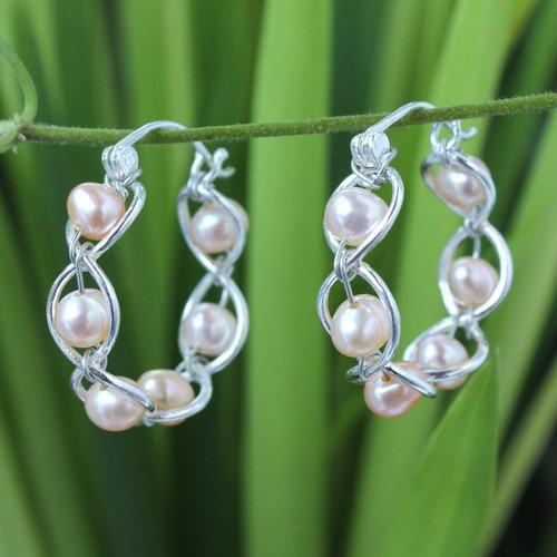 Sterling Silver and Pearl Hoop Earrings 'Peach Twist'