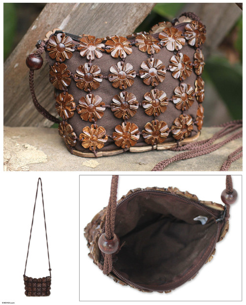 Unique Floral Coconut Shell Shoulder Bag 'Petite Brown Daisies'