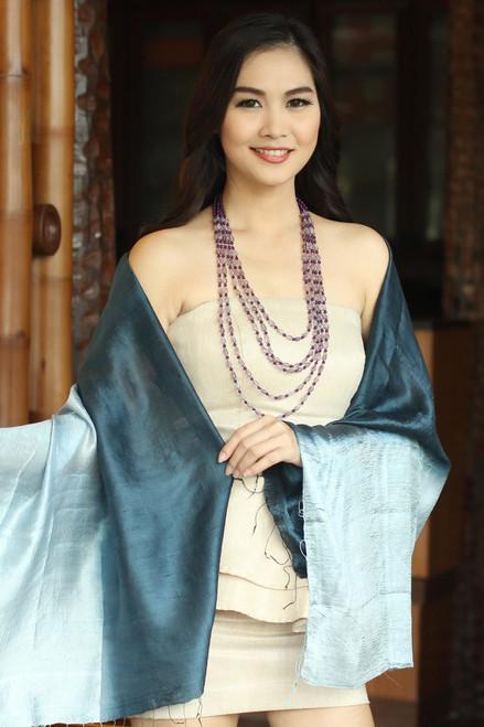 Silk Shawl from Thailand 'Shimmering Ocean'