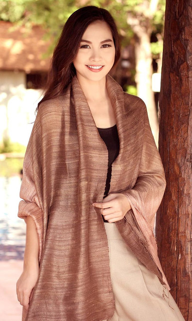 Handcrafted Thai Silk Patterned Shawl 'Bold Spice'
