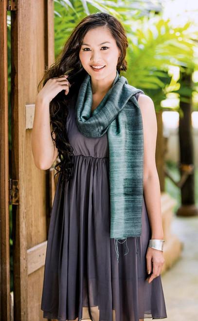 Handmade Silk Scarf from Thailand 'Bold Teal'