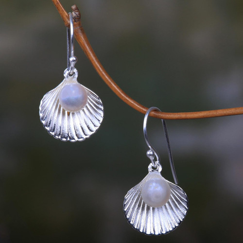 Sterling Silver and Pearl Seashell Earrings 'Gift from the Sea'