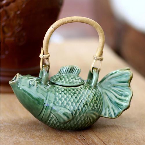 Hand Crafted Ceramic Fish Teapot 'Green Koi'