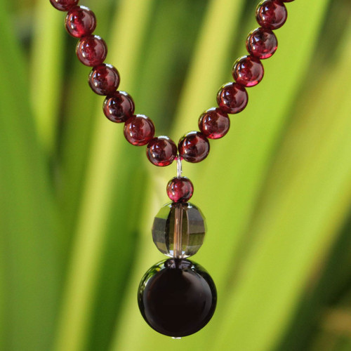 Beaded Garnet Necklace from Thailand 'Red Carpet'