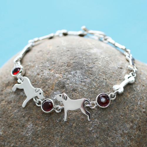 Handcrafted  Sterling Silver and Garnet Doggie Bracelet 'Pampered Puppy Dog'