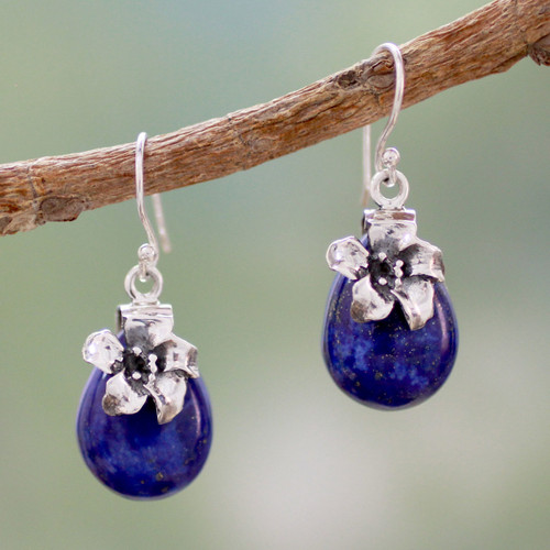 Lapis Lazuli Earrings Sterling Silver Floral Jewelry 'Lovely Lily'