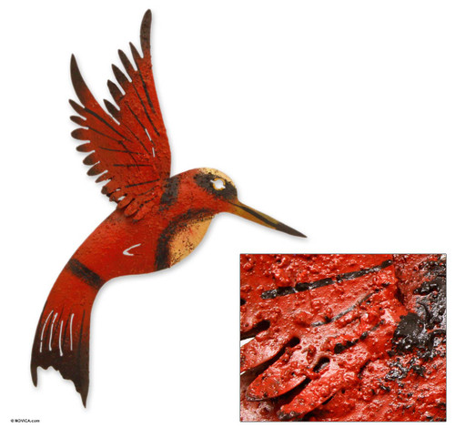 Unique Red Bird Wall Art Steel Sculpture from Mexico 'Little Ruby Hummingbird'