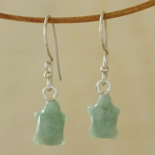 Jade Dangle Turtle Earrings from Central America 'Green Turtle'