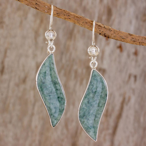 Modern Sterling Silver Dangle Jade Earrings 'Floating in the Breeze'