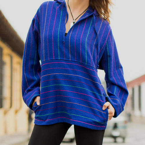 Unique Women's Cotton Pullover Tunic Top 'Blue Mermaid'