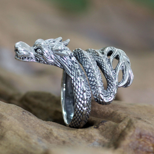 Unique Indonesian Sterling Silver Wrap Ring 'Baby Dragon'