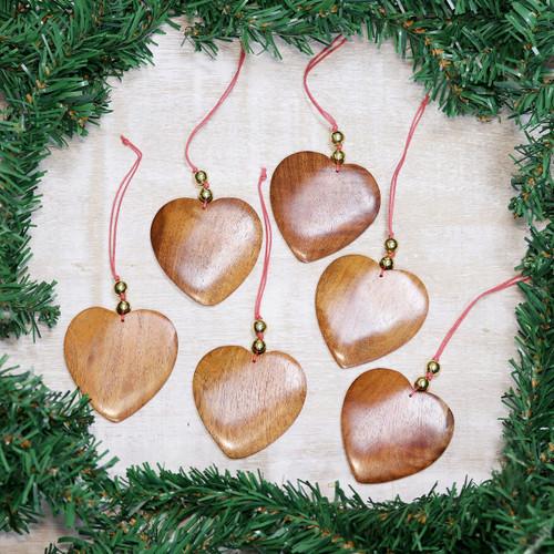 Wood ornaments (Set of 6) 'Festive Hearts'