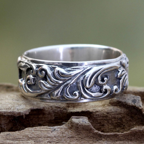 Leaf and Tree Sterling Silver Band Ring 'Flourishing Foliage'