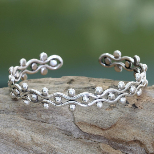 Sterling Silver Cuff Bracelet from Indonesia 'Floral Buds'