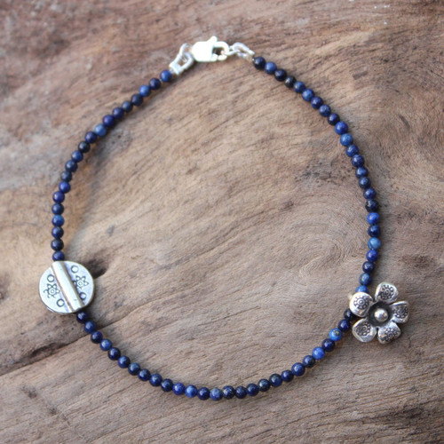 Hill Tribe Silver and Lapis Lazuli Bracelet 'Hill Tribe River'