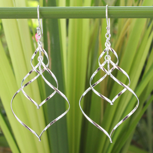 Modern Sterling Silver Dangle Earrings 'Chiang Mai Chimes'