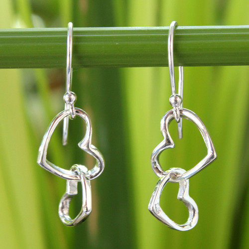 Women's Heart Shaped Sterling Silver Dangle Earrings 'Locked in Love'