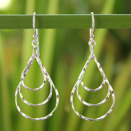 Modern Sterling Silver Dangle Earrings from Thailand 'Ripples in the Stream'