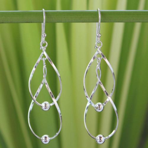 Hand Made Modern Sterling Silver Dangle Earrings 'Fabulous'